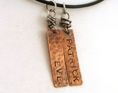 Father's Day Gift - Rustic Dad Necklace with 2 Copper Charms - Brambles Collection