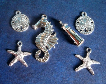 SALE - Beach Charm Collection in BRIGHT Silver Tone - C2165