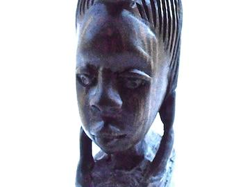 Vintage African Masai Woman  Head Figurine Carve Dark Ebony Wood Female Bust Tribal Folk Art Native Handicraft Statue Ethnic Tribe Souvenir