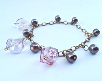 Vintage Purple Faux Pearl Bead Charm Bracelet Chain Link Gold Tone Acrylic Light Pink Faceted Acrylic Cube Light Rhombus Diamond Dangling
