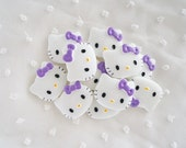 4pcs - Medium Kitty with Lavender Bow Decoden Cabochon (28x22mm) HKM10010