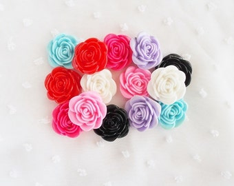 7pcs - Medium Blooming Rose Mix Decoden Cabochon (23mm) FL10012