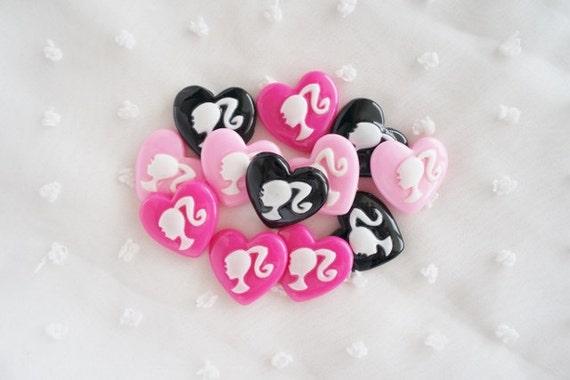 9pcs - Pretty Girl Heart Mix Decoden Cabochon (21x19mm) HRL10007