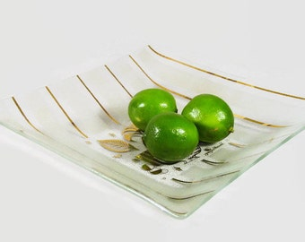 Mid Century Modern Designer Glass Tray by Georges Briard, Glass Serving Tray Midcentury 1960s. 70s