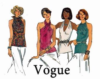 Halter Tops Vintage Vogue Bust 34 Size 12 1970s Neckline Variations criss cross tie Vogue 9191 70s Vintage Sewing Pattern Suitable for Knits