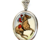 Broken China Jewelry Wedgwood Race Horse Equestrian Sterling Oval Pendant