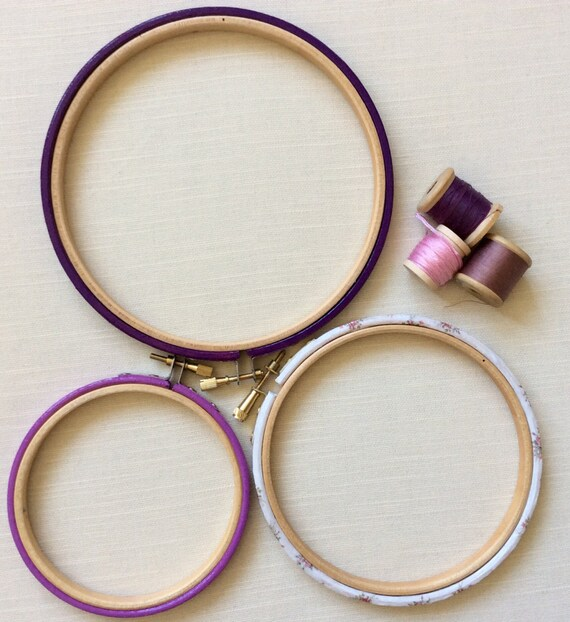 Embroidery hoop set of three hand decorated frames