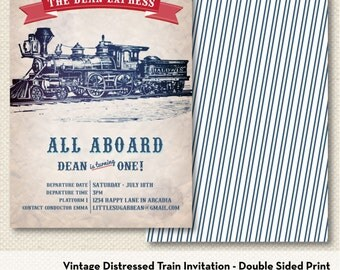Train Invitation - Double Sided Printed Set of 10