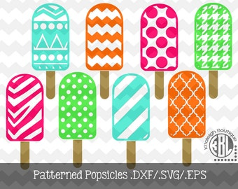 Patterned Popsicles .DXF/.SVG/.EPS Files for use with your Silhouette Studio Software