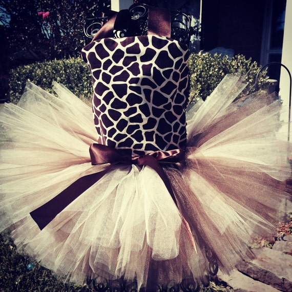 Giraffe Print 2 Piece Costume set with top and tutu for baby to toddler girls to wear this Halloween or for a party