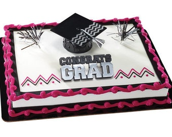 Graduation Chevron Hat Cake Topper Set / Decoration / Kit