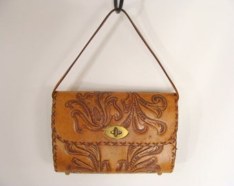TEMPORARILY REDUCED was 44.44 vintage 40s Tooled Leather Handbag Box Purse