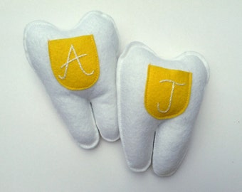 Tooth Fairy Pillow. Yellow Pocket. Embroidered Monogram. Custom Color and Initial Option.