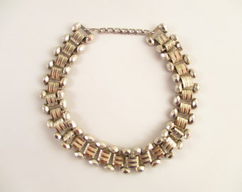 Interesting Silvertone Textured Chain Link Styled Adjustable Choker - Vintage - Shimmery and Shiny