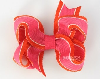 Hot Pink and Orange Striped Hair Bow - Baby Toddler Girl - 3 Inch Boutique Bow on Alligator Clip Barrette Preppy