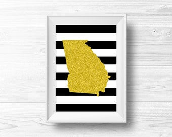 Ohio Wall Art Black Gold Glitter Silhouette By Anchorandsalt