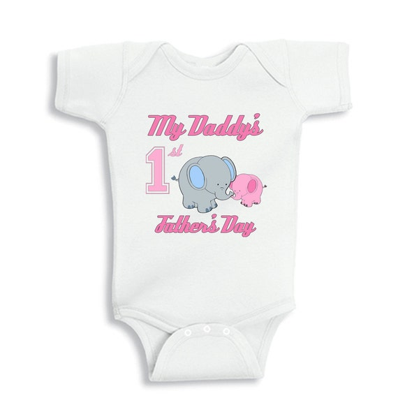 My Daddys First Fathers Day with elephants baby bodysuit for Girls