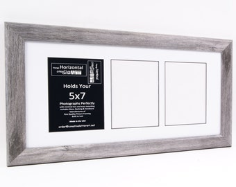 5x7 Driftwood Picture Frames with Multi 3 4 5 6 7 8 Opening Collage Mat for Name Sign, Wedding, Newborn Timeline, Alphabet Photography Art