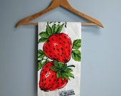 Vintage strawberry linen tea towel - Parisian Prints - made in USA - original label - new old stock - retro kitchen linens