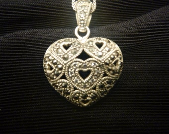 Vintage ORNATE Sterling Silver HEART PENDANT and Chain