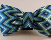 Dog Bow Tie or Flower - Blue Diamond