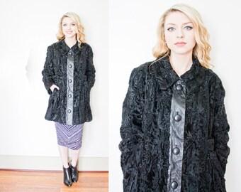Vintage 1960s Coat - Black Persian Lamb Fur & Leather Jacket 60s - Medium / Large