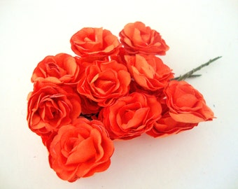 Medium Scalloped Pedal Orange Mulberry Paper Roses Flowers -3 Bunches