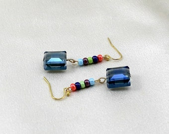 Colorful Earrings with Dangle.  Rainbow Czech Glass.  Mother Gift.