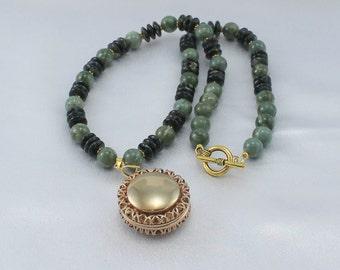 Jade necklace, vintage locket, grade AA jade, gemstone necklace.