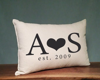 Personalized Initial Pillow With Heart And Date, Custom Wedding Gift Pillow, Anniversary Gift, Established Date Pillow, Personalized Gift