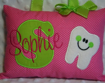 Tooth Fairy Pillow Girls Personalized Polka Dot Kids Keepsake Birthday Gift Pink