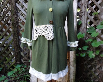 Bohemian Top,Upcycled Top,Victorian Top,Mori Girl Top,Shabby Chic Top,Long Top,Tunic Top,by Nine Muses Of Crete.