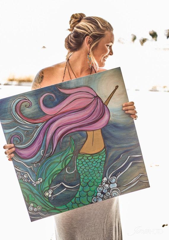 Large Canvas Print of Purple Hair Mermaid Swimming through the Sea by Lauren TannehillART