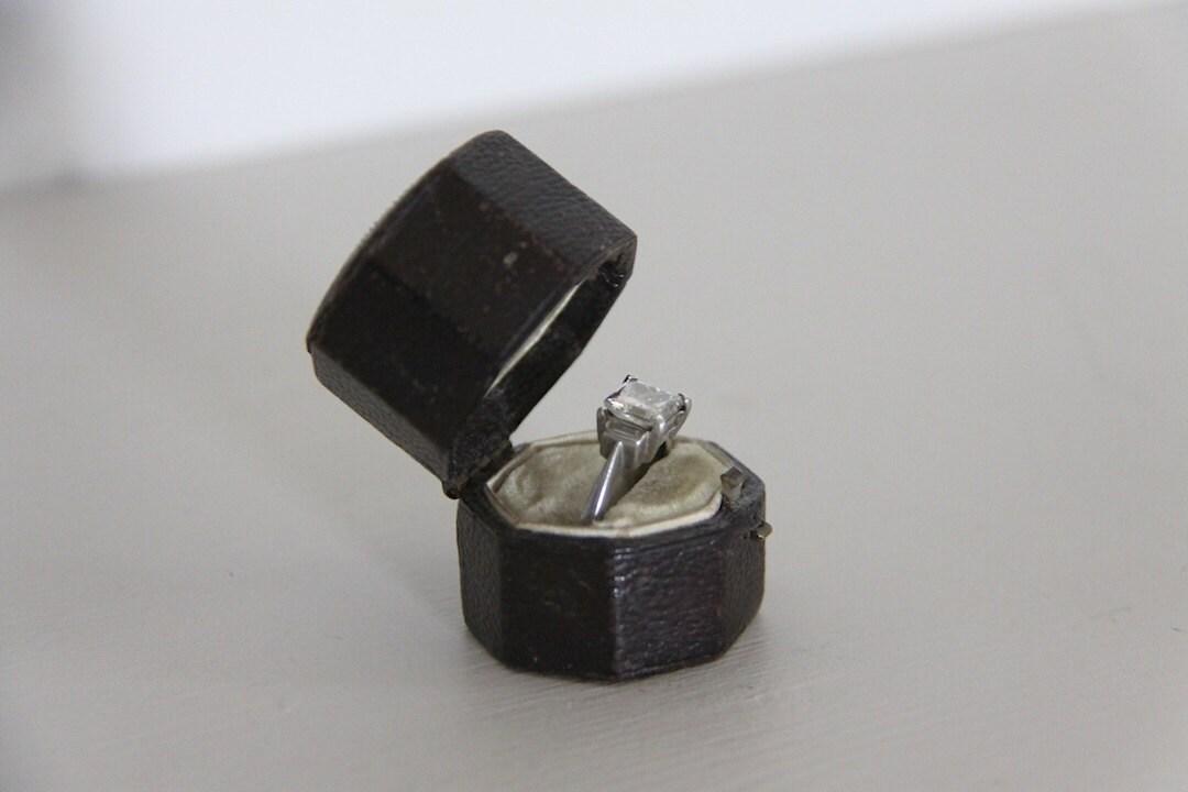 antique ring box leather engagement wedding ring box