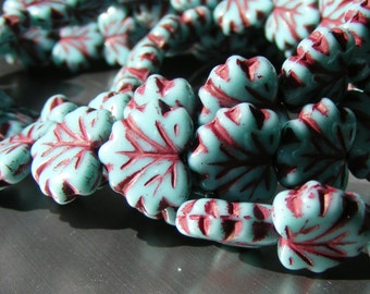 10x13mm Czech Pressed Glass Turquoise Maple Leaf 10 each (bk020)