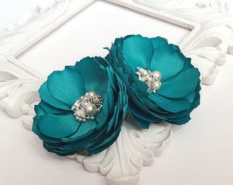 Oasis Teal Hair Clips - For Bride, Bridesmaid, Flower Girl, Formal Occasion, Photo Shoot Sister Teacher's Gift - Many Colors Kia Collection