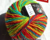 """Naturan Sheep Wool yarn """"horce"""". Multicolor wool yarn in red, green, yellow, blue and orange. Color 354."""