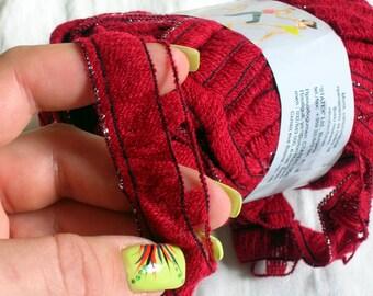 Ruffle yarn, lambada lame, flamenco, can can, fantasy, sashy. Color red. Ribbon mesh yarn with metal thread. Glitter silver thread yarn