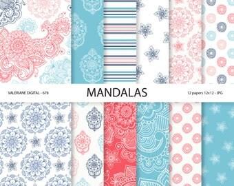 Mandala Digital Paper, mandalas, wedding papers, blue and pink papers, scrapbook supplies - 678
