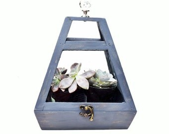 Vintage Terrarium Wood and Glass Box for Succulents and Plants