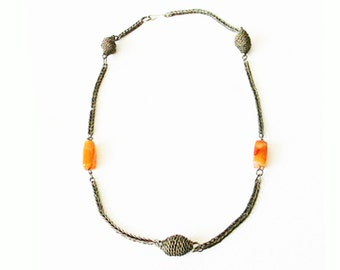 Antique Silver and Carnelian Chain Maille Necklace Thailand