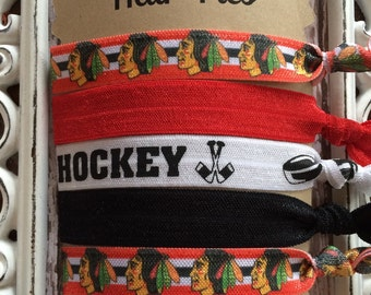 FOE Elastic Hair Ties CHICAGO BLACKHAWKS Collection Hockey Red, Black, Toddlers Girls Women -Set of 5-