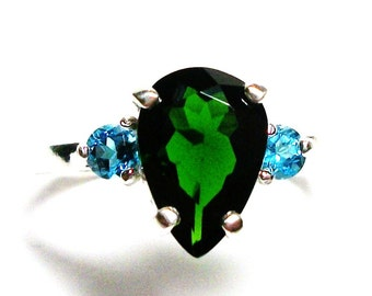 "Chrome diopside ring, blue topaz ring, 3 stone ring, blue green,  blue green jewelry, s 6 1/2  "" Sparks will fly"""