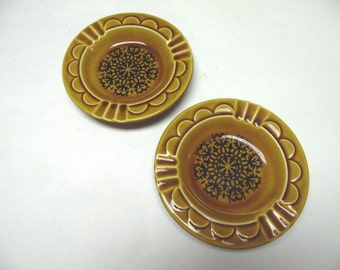Golden Brown 70s Ashtray Stoneware Harvest Gold Set Of Two