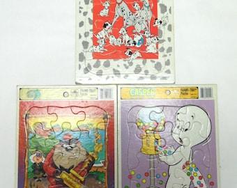 Casper Taz Mania 101 Dalmatians Puzzle Set of 3 Golden Book Frame Tray Puzzles