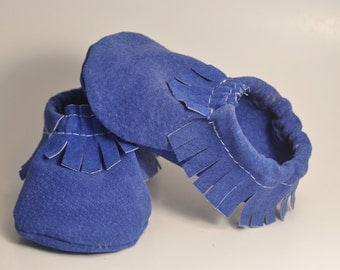 Blue Suede Baby Moccasins--ready to ship!
