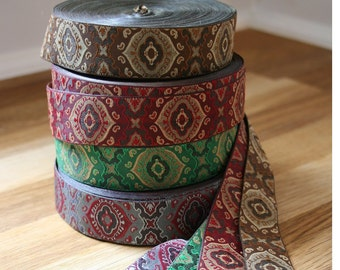"Jacquard ribbon, 1"" (25mm) wide in a choice of four vintage inspired colourways"
