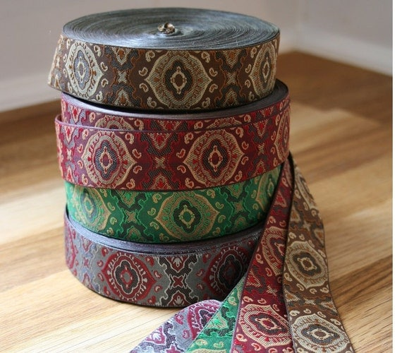 """Jacquard ribbon, 1"""" (25mm) wide in a choice of four vintage inspired colourways"""