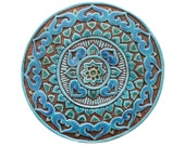Wall hanging with Mandala design, Circle ceramic tile wall hanging glazed in turquoise, 30cm
