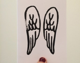 Angel Wings Linocut Card